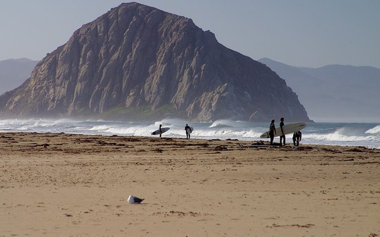AWAYN IMAGE Surfing at the Morro Bay beach