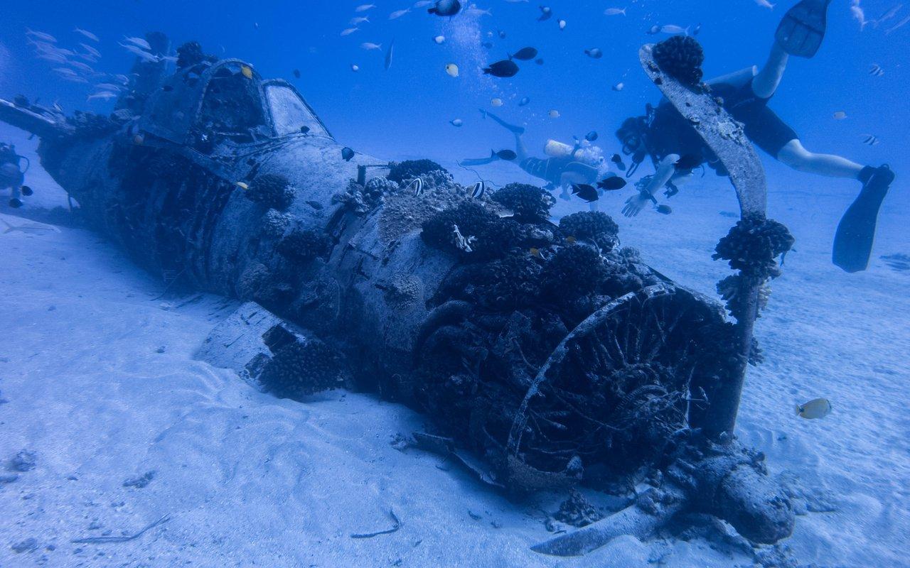AWAYN IMAGE Dive in WW2 era Corsair airplane wreck