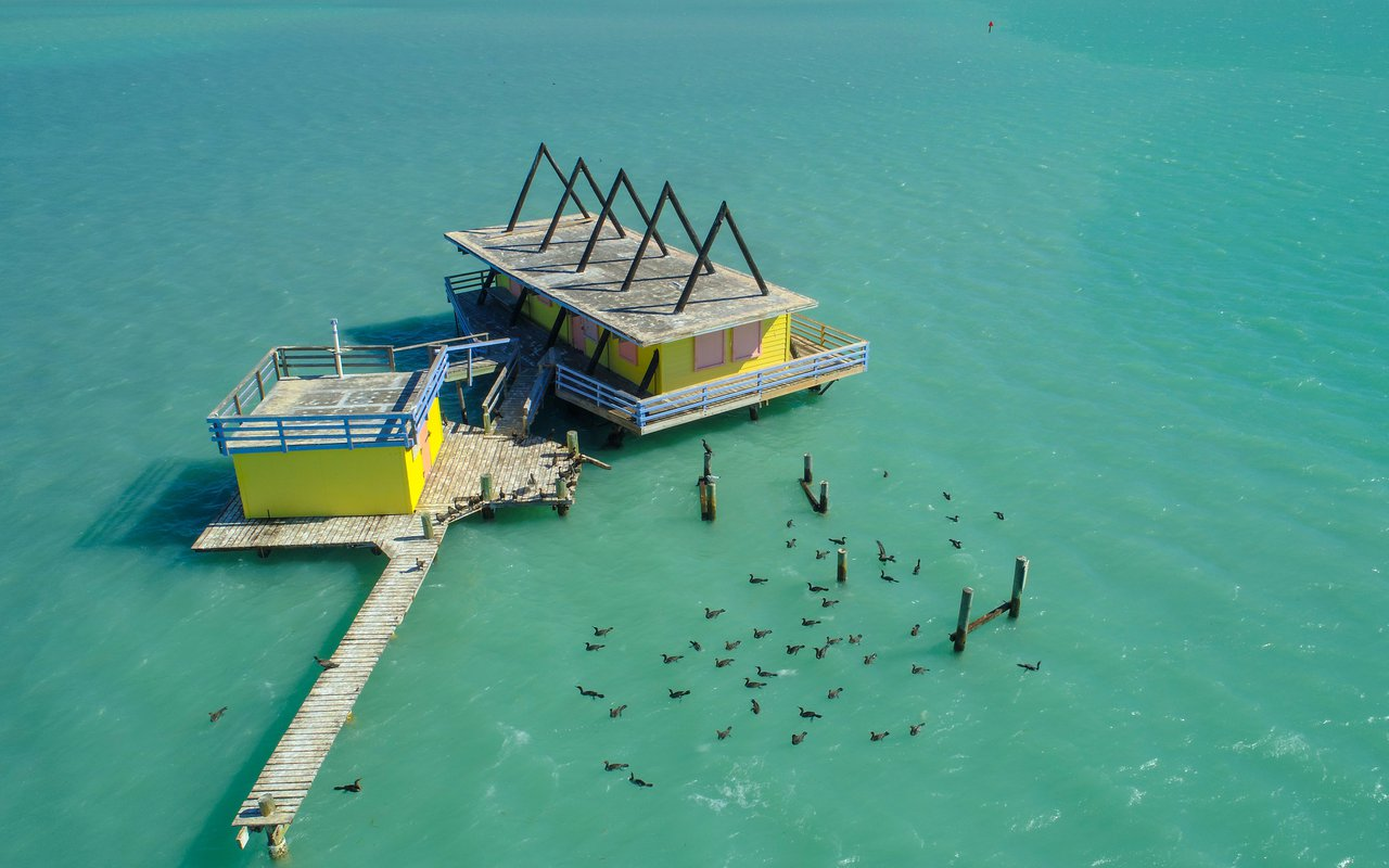 AWAYN IMAGE Stiltsville Collection of 7 Houses a Mile Off the Florida Coast