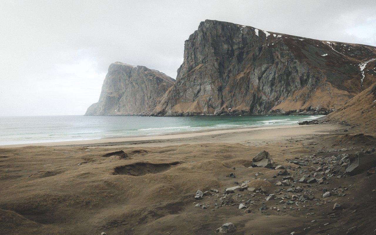 AWAYN IMAGE Explore Hike to Helvetestinden  Kvalvika Beach