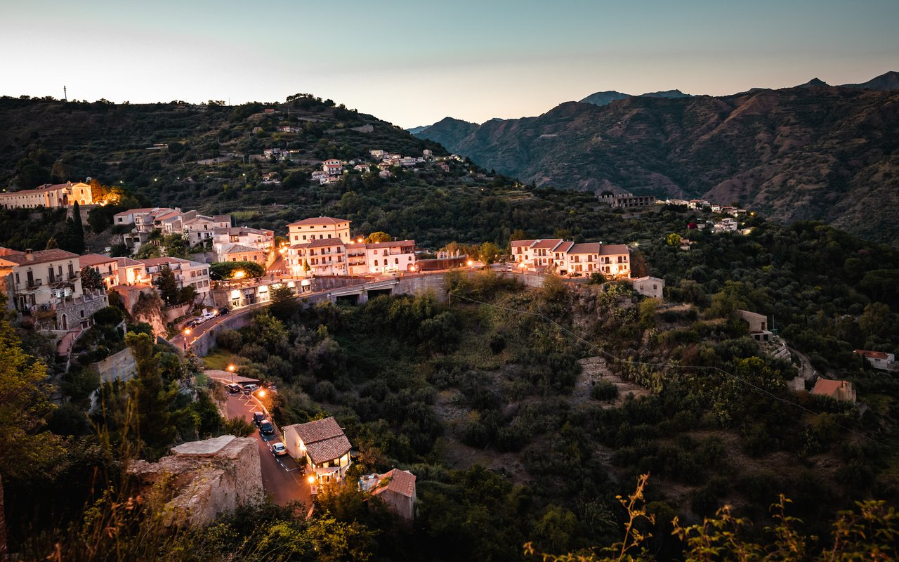 AWAYN IMAGE Get a panorama View of Forza d'Agrò, picturesque town in the Province of Messina