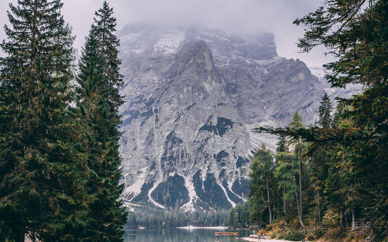 AWAYN IMAGE Pragser Wildsee Lake in Italy
