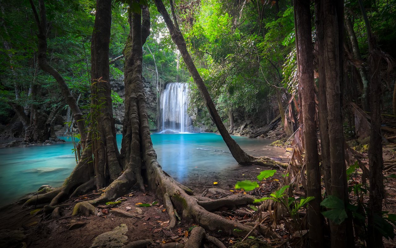 AWAYN IMAGE Splashing Water in Erawan waterfall