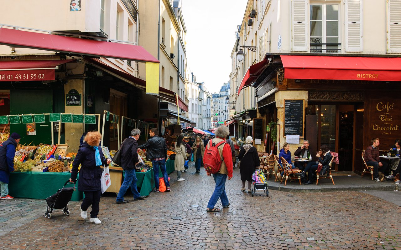 AWAYN IMAGE Rue Mouffetard in Paris Latin Quarter