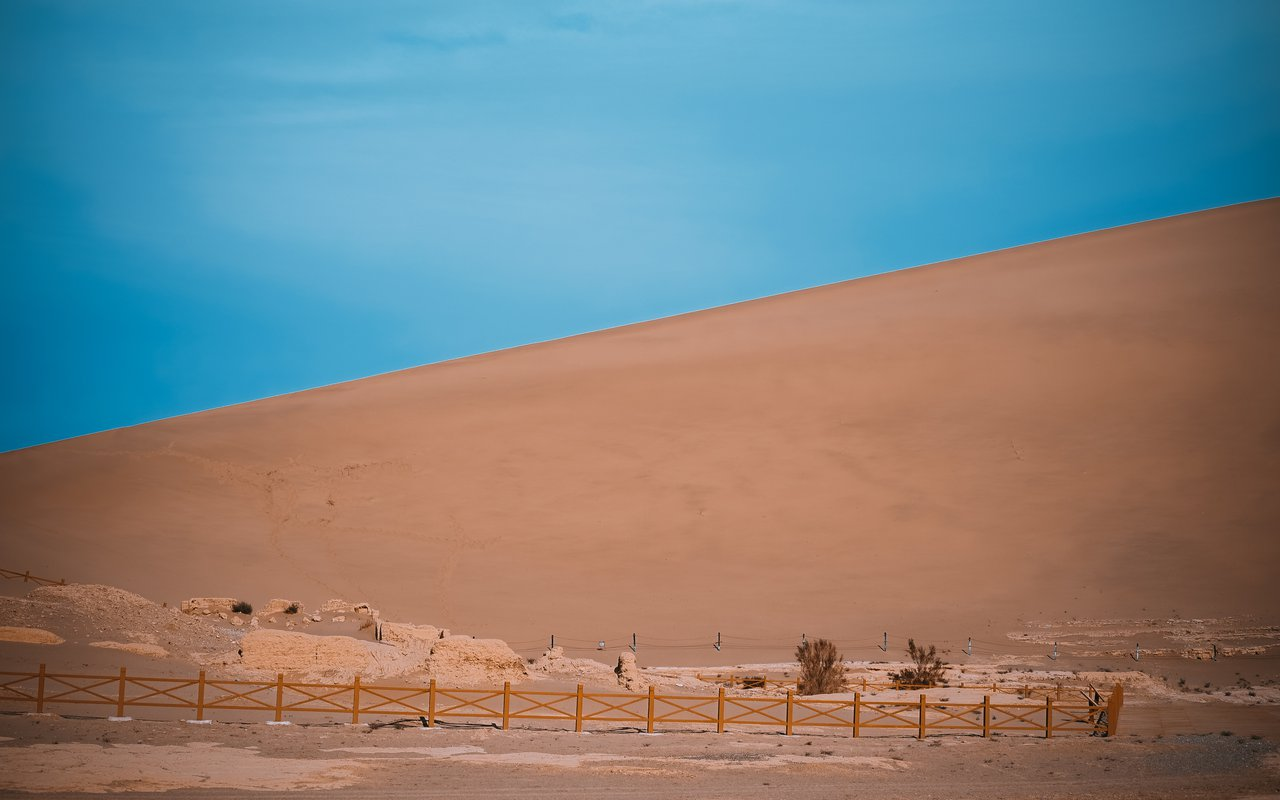 AWAYN IMAGE Dunhuang Singing Sand Mountains(Mingsha Shan) Crescent Moon
